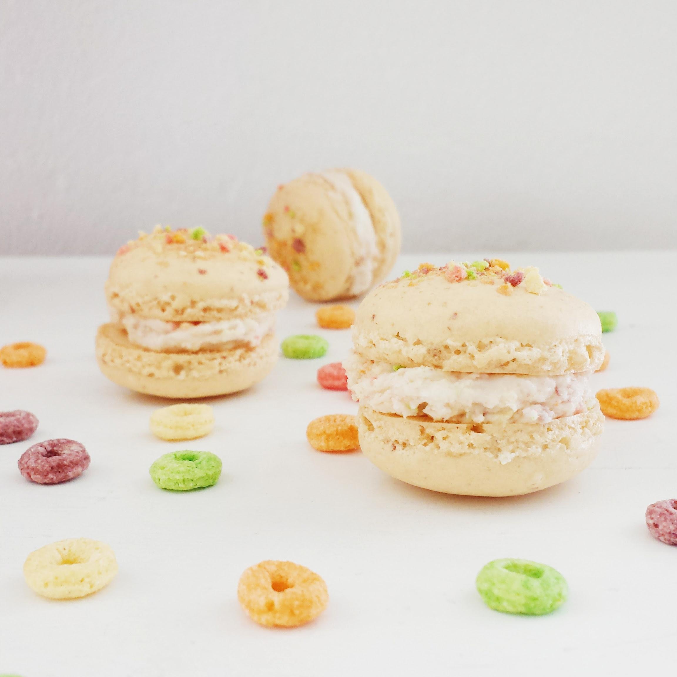 Fruity Cheerios Cereal Macarons with Fruity Cheerios Buttercream Filling   design. bake. run.