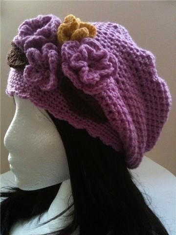 Blossom - 0015 - PDF PATTERN for Crochet Slouchy Hat with Flowers and Leaves - Size Teen to Adult