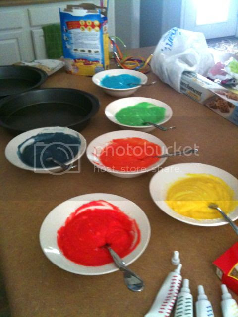 food coloring, rainbow cake