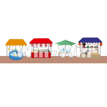 縁日の屋台出店の街ブラシ W 024522 の無料cgイラスト素材
