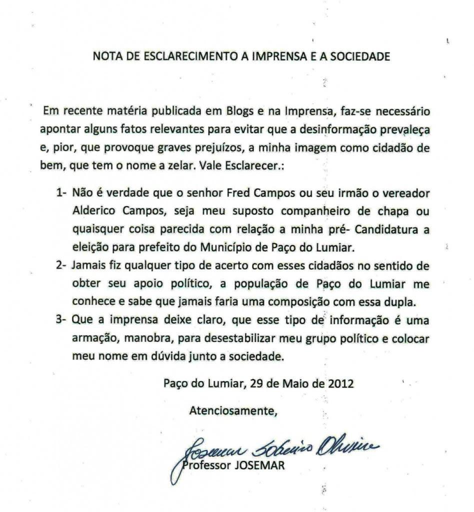 PAÇO DO LUMIAR: Pré-Candidato diz que que aproximação com Alderico Campos e Fred campos causaria prejuízos graves à sua imagem