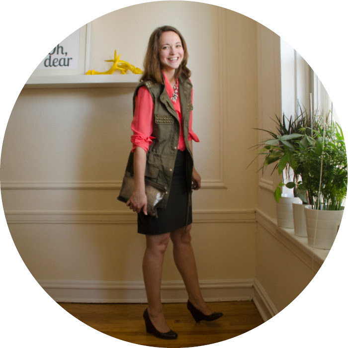 july outfit, neon to work, dressing up a utility vest, business casual, pencil skirts, office style, ootd, what to wear with, forever21 studded vest