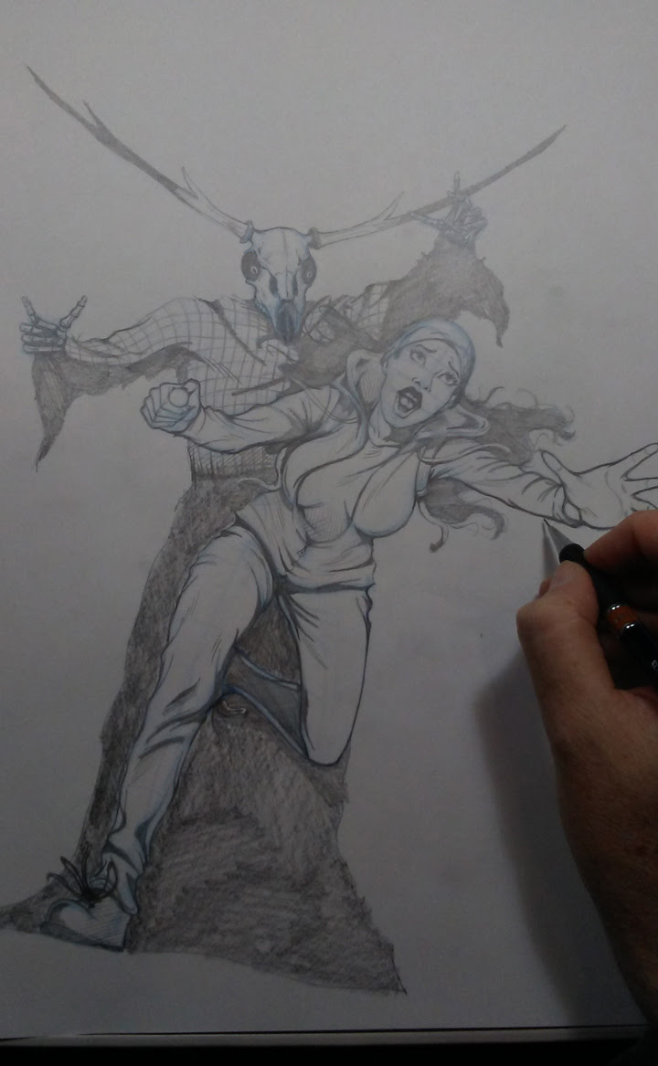 Photo of tight pencils of the cover for WOLF'S HEAD issue 13 by Von Allan
