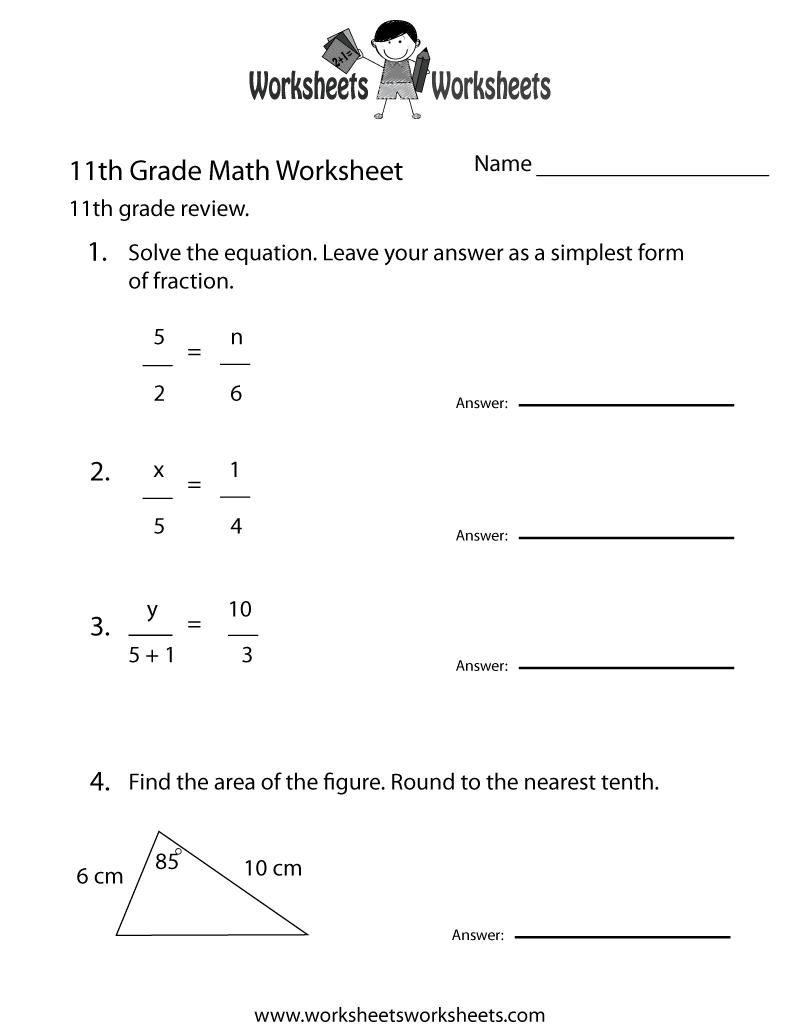 11th grade math review worksheet printable