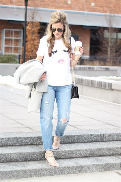 Cheeky Graphic Tee & Distressed Boyfriend Jeans   A Mix of Min