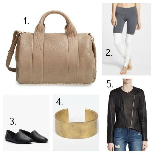 Alexander Wang Handbag - Alo Leggings - Vince Flats - Marmol Radziner Bracelet - Helmut Lang Jacket