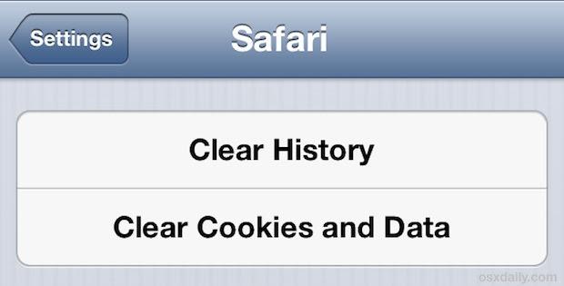 Clear Safari caches in iOS