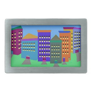 City Art on Belt Buckle
