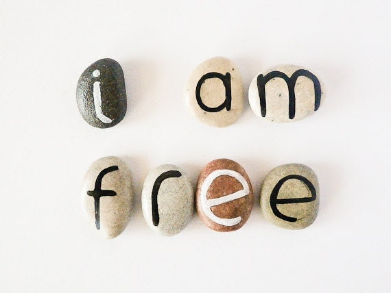 7 Magnets Custom Letters or I am Free Quote, Beach Pebbles, Inspirational Word or Quote, Gift Ideas, Sea Stones, Personalized, Rocks