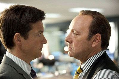 Nick Hendricks (Jason Bateman) confronts his mean-spirited boss David Harken (Kevin Spacey) in HORRIBLE BOSSES.