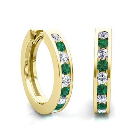 Channel Set Emerald and Diamond Hoop Earrings in 14k Gold