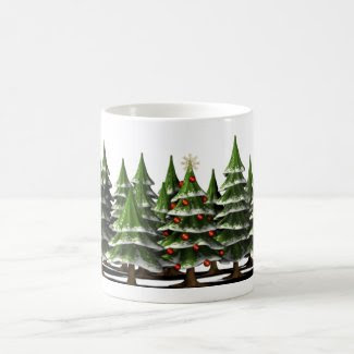 Decorated Christmas Tree in a peaceful Forest Classic White Coffee Mug