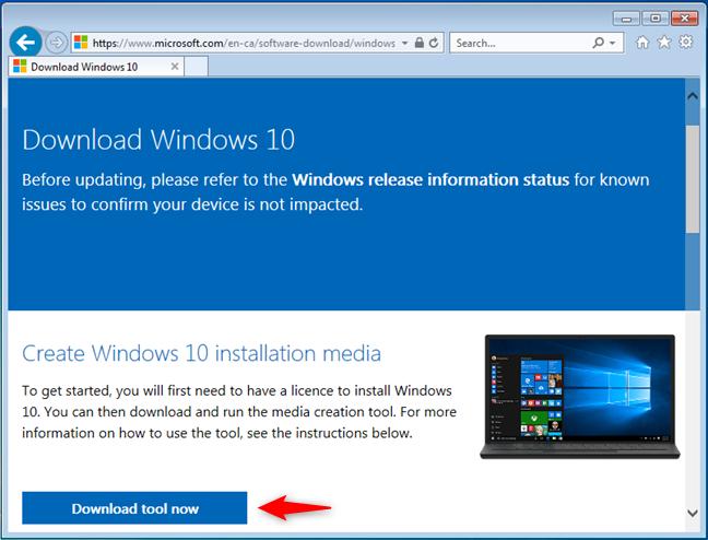 Descargar la herramienta de creación de medios de Microsoft