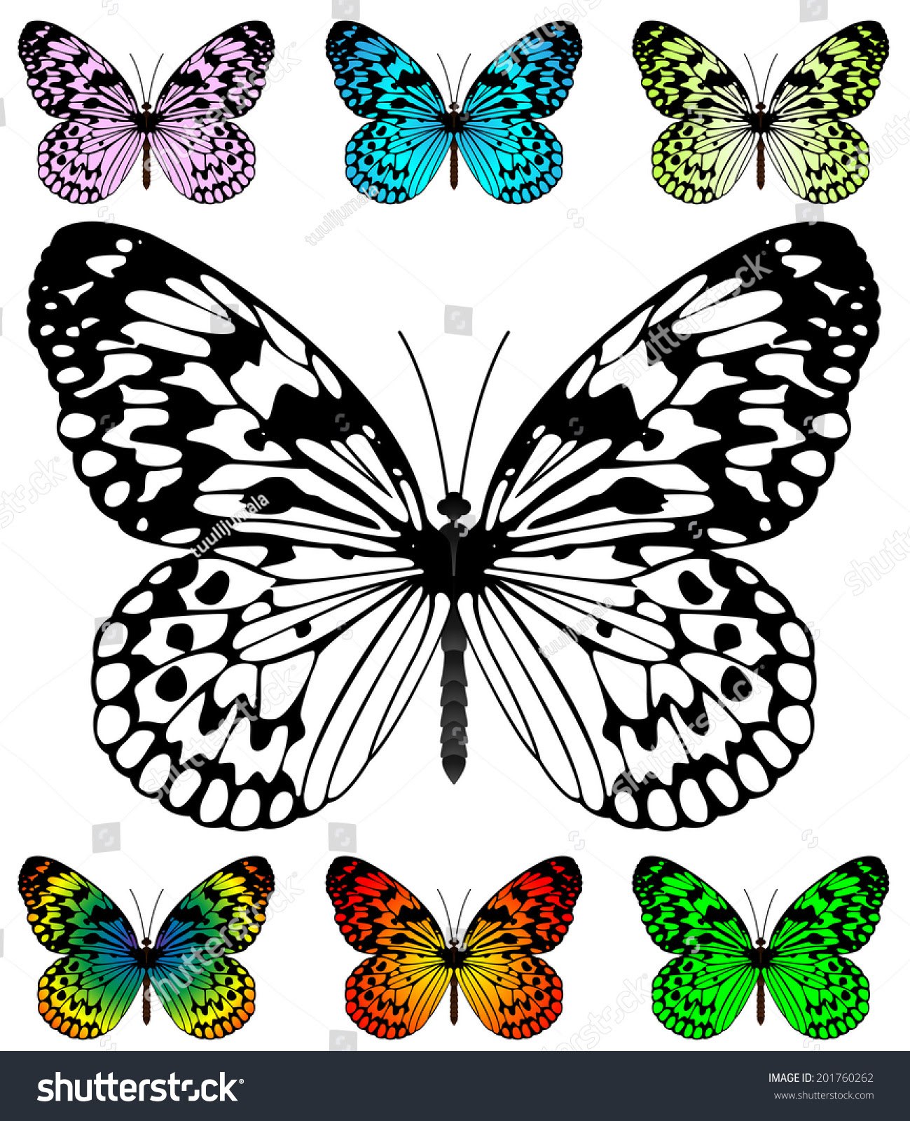 Butterfly Template Samples Easy Editable Wings Stock Illustration ...