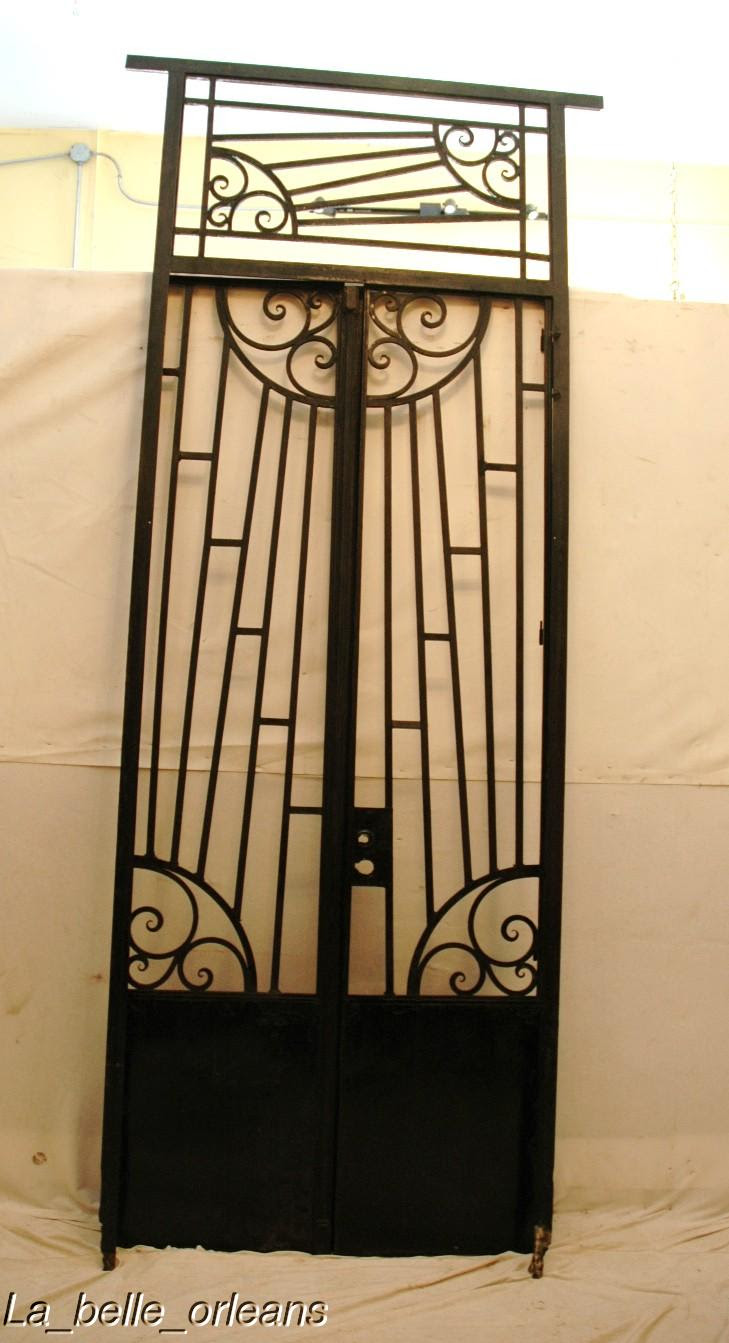 Art Deco French Wrought Iron Gate With Frametransom For Sale