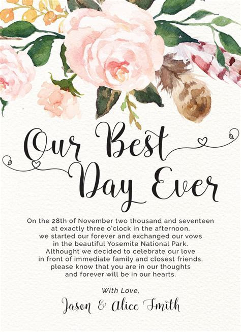 Elopement Announcement Cards, Our Best Day Ever, Printed
