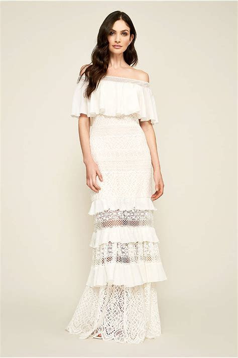 Jewel Off the Shoulder 3/4 Sleeve Wedding Dress   David's