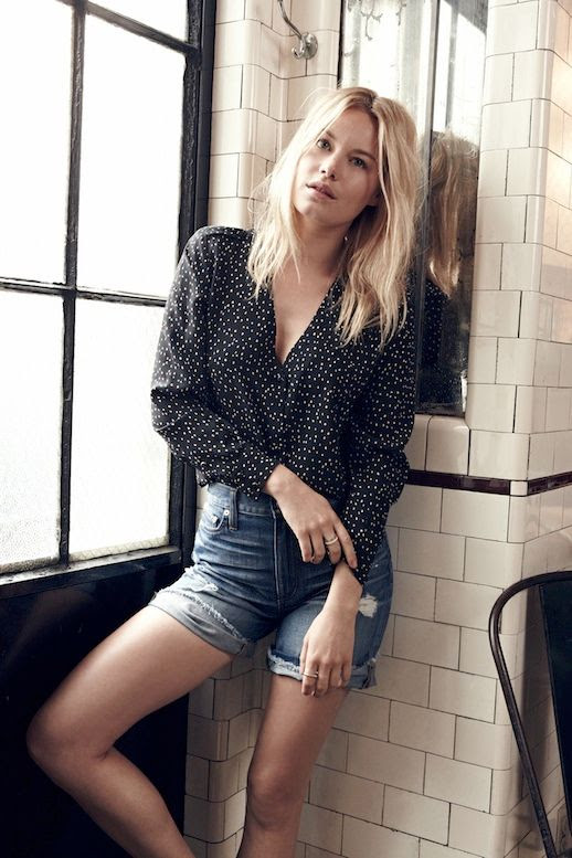 Le Fashion Blog Madewell Sezane Lookbook Camille Rowe Spotted Silk Printed Shirt Top Distressed Denim Shorts