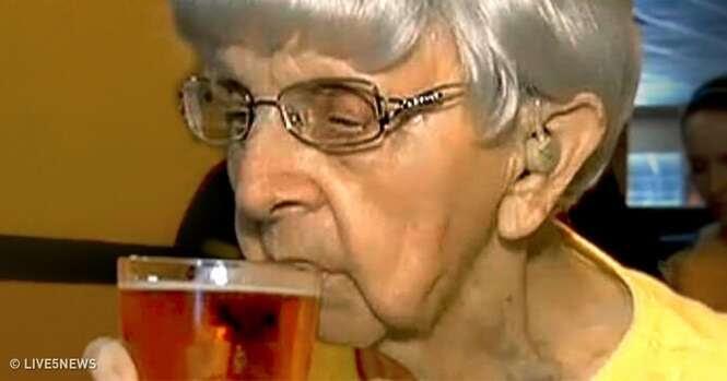 Idosa de 102 anos afirma que o segredo de viver muito é a cerveja