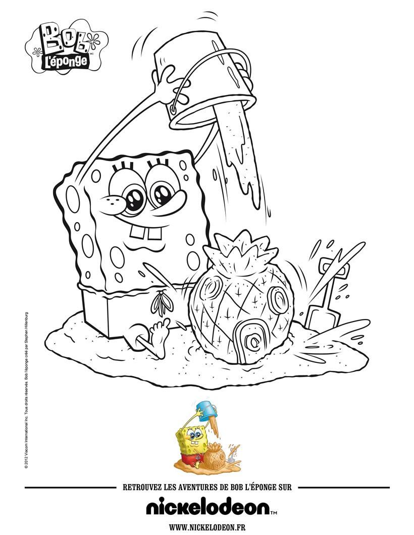 Dibujos Para Colorear Bob Esponja A La Playa Eshellokidscom