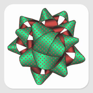 Red and Green Christmas Square Stickers