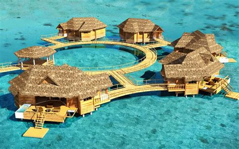 caribbeans   water bungalows latitudes travel
