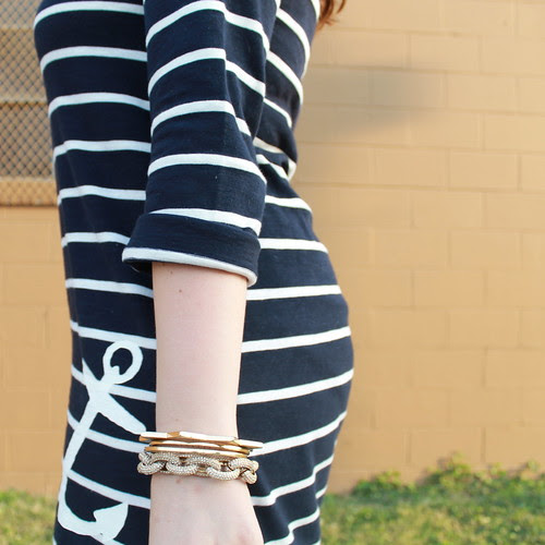 "Sailor, sailor outfit: J. Crew ""Maritime Anchor Dress"" with zipper detail, bulldog brooch, gladiator sandals, pearls, J. Crew ""Pavé cable link bracelet"", signet ring, various jewelry"