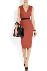 Victoria Beckham Belted Stretch Wool Blend Dress