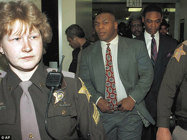 Mike Tyson leaves the court in Indianapolis after being convicted on one count of rape and two counts of criminal deviate conduct on February 11, 1992