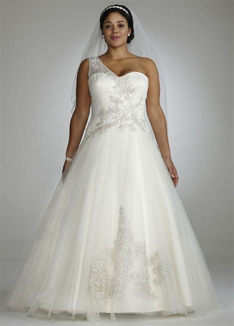 David's Bridal One Shoulder Tulle Ball Gown Wedding Dress