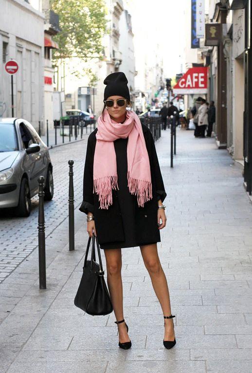 Le Fashion Blog Pink Scarf Oversized Black Coat Black Beanie Hat Ankle Strap Round Toe Heels Tote Bag Via Sara Strand photo Le-Fashion-Blog-Pink-Scarf-Oversized-Black-Coat-Black-Beanie-Hat-Ankle-Strap-Round-Toe-Heels-Tote-Bag-Via-Sara-Strand.jpg
