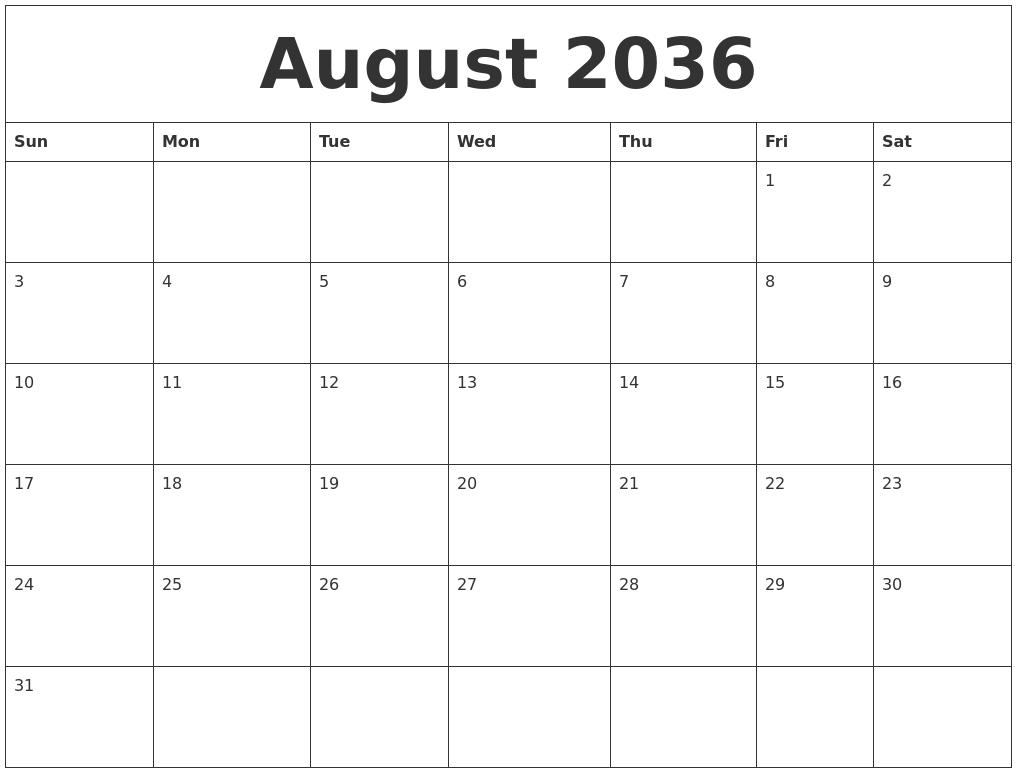 august 2036 birthday calendar template