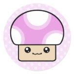 Mushy Puffs Pink Kawaii Mushroom Stickers