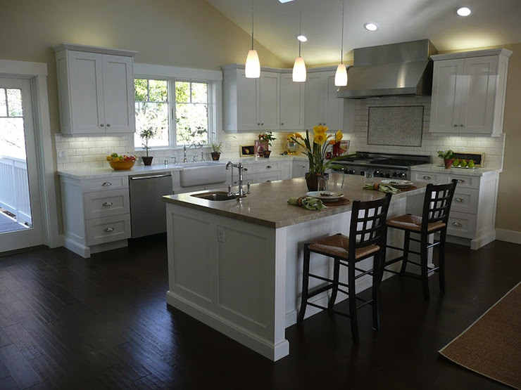 White Kitchen Cabinets Dark Wood Floors - Transitional ...