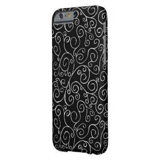 White Scrolling Curves on Black Barely There iPhone 6 Case