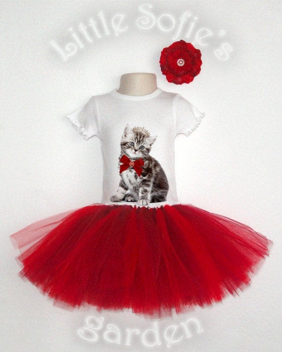 Baby, Toddler Girl, Children T-Shirt, Onesie - Rainbow Kittens, Red, Burgundy, Tutu Outfit, Birthday Outfit, NB - 6T