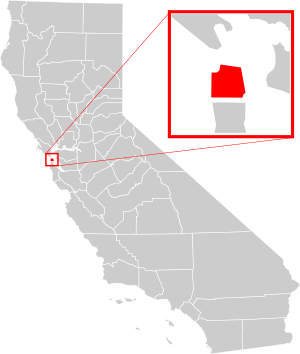 A county locator map of California, with San F...