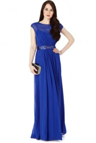 Whistles harper lace evening dress blue