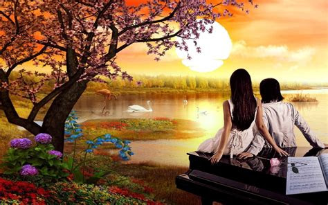 romantic love love couple nature swan lake sunset spring