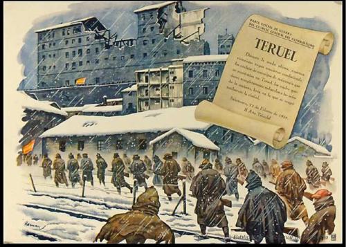 Cartel de Arnau sobre un parte oficial del cuartel general del Generalísimo. / Biblioteca Nacional (BNE)