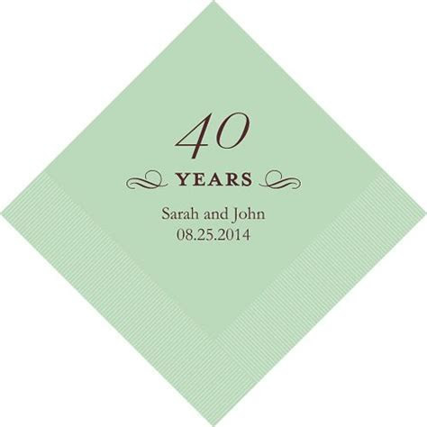 Personalized 40th Wedding Anniversary Napkins (25 Colors