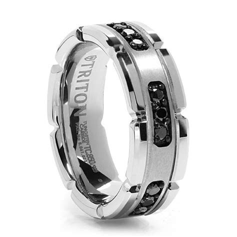 White Tungsten Ring with Black Diamonds ? Triton Tungsten