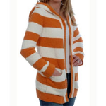 Julep Lounge Kashwere Rugby Striped Car Coat