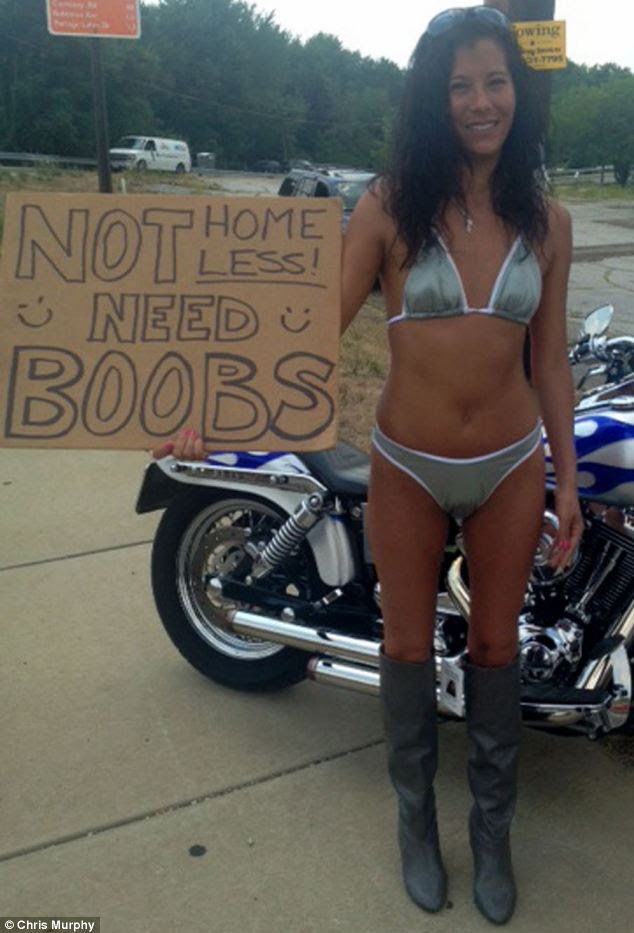 Begging for boobs: Chrissy, 37, believes her 'original' idea standing on a busy street corner will help her raise $5,058 for breast implants