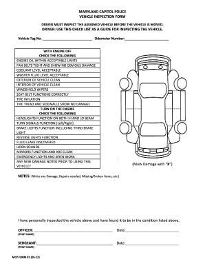 Vehicle Daily Checklist Form