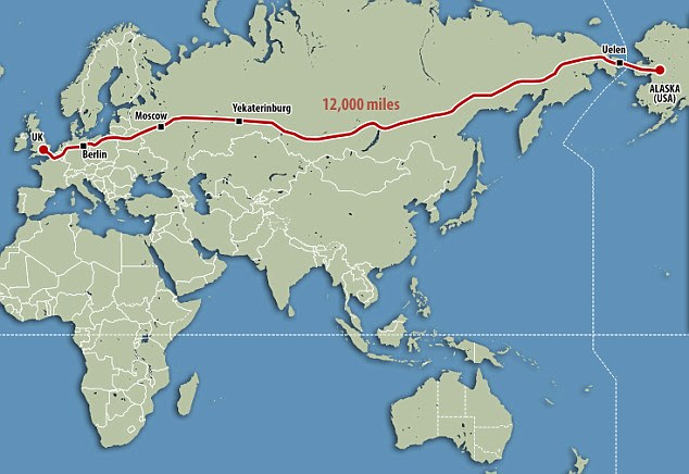 By jumping on the Channel Tunnel you could get all the way from London to Alaska by road under plans for a more than 12,000 mile superhighway linking Europe and western Russia to the Bering Strait