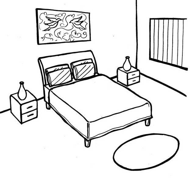 simple bedroom coloring page