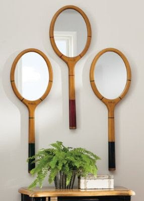 Show your love for the game when you hang Wilkins Tennis Racquet Mirrors in the entry, hall, office, or game room.
