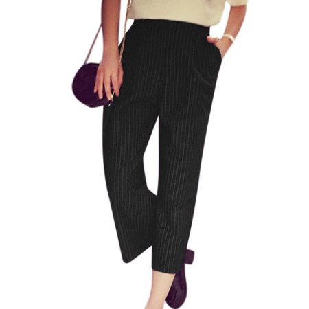 Women's Vertical Stripes Elastic Waist Wide Leg Casual Cropped Pants Black (Size S \/ 4)
