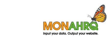MONAHRQ Logo. Input Your Data. Output your website.